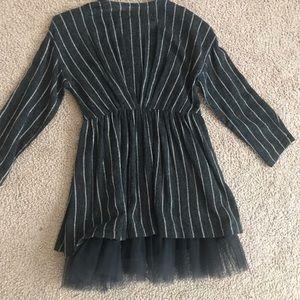 Zara gray stripe dress with tulle size 8 EUC